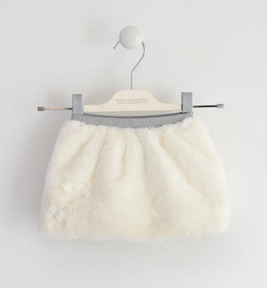 Mini skirt completely made of very soft faux fur CREAM