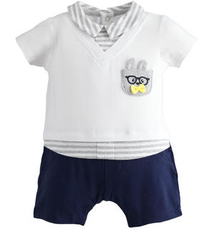 This newborn boy romper of stretch cotton is very comfortable BLUE