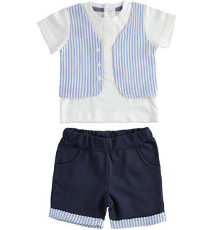 This two-piece 100% cotton newborn baby set is very particular BLUE
