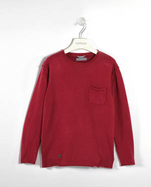Soft cashmere and cotton blend sweater with a pocket   RED