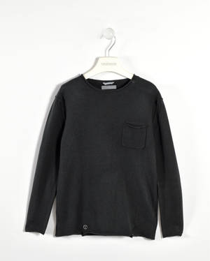Soft cashmere and cotton blend sweater with a pocket   BLACK