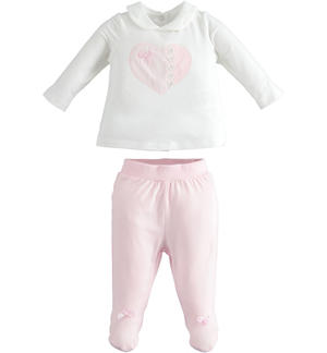 Soft stretch cotton chenille two pieces suit for newborn girl PINK