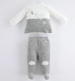 Soft broken rompers with foot unisex model for baby GREY