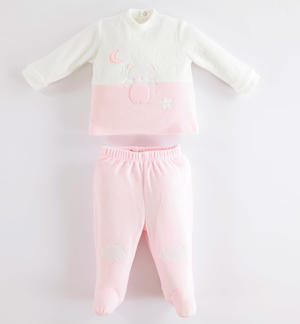 Soft broken rompers with foot unisex model for baby PINK