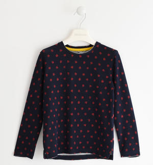 Crew-neck sweater made of warm fabric with a polka dot pattern BLUE