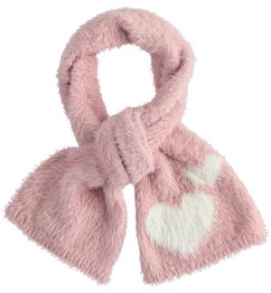 Very soft lurex tricot scarf with hearts PINK
