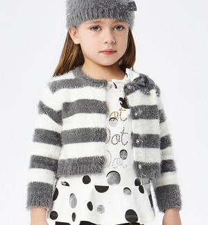 Soft striped fur effect cardigan  GREY