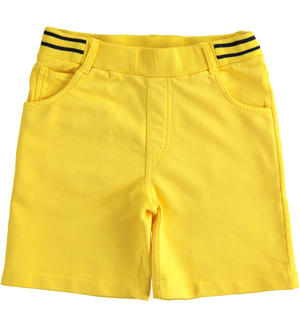 Soft and comfortable short trousers in 100% cotton fleece YELLOW