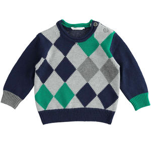 Soft newborn baby color block sweater of cotton, viscose and cashmere blend BLUE