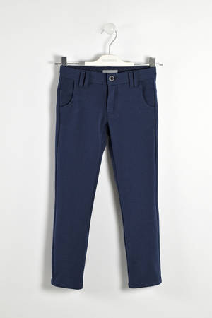 Soft trousers in a refined jaspé fabric   BLUE