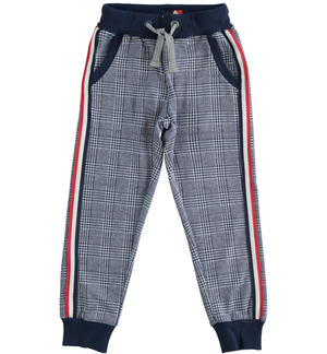 Soft jacquard checked fabric trousers BLUE