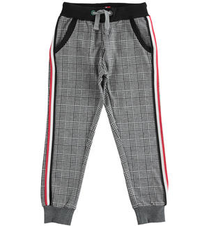 Soft jacquard checked fabric trousers BLACK
