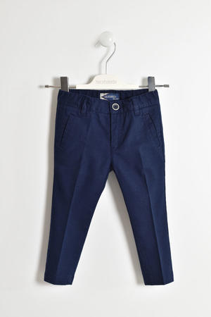 Elegant cotton and linen blend trousers BLUE