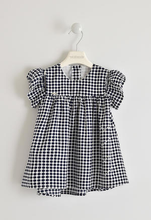 Cool viscose dress with polka dot pattern BLUE