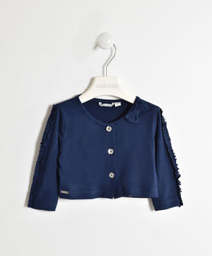 Girl's viscose shrug with three-quarter sleeves BLUE