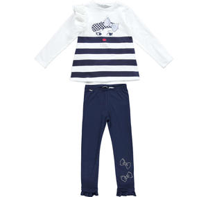 Striped T-shirt and long leggings with rhinestones set BLUE