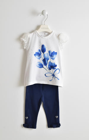 T-shirt and leggings with romantic print set BLUE