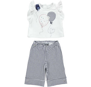 Girl's trousers and t-shirt set BLUE