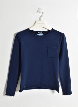 Boy's 100% cotton long-sleeved crew neck t-shirt BLUE