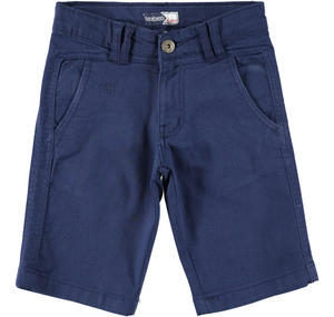 Boy's comfy short trousers in stretch cotton BLUE