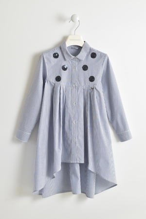 100% cotton poplin shirt dress with striped print BLUE