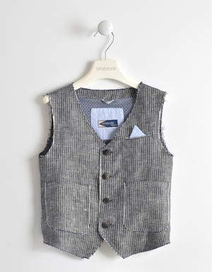 Boy¿s elegant and formal striped waistcoat with raw cut effect BLUE