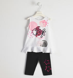 Lovely jersey suit composed of tank top with little fish and leggings BLACK