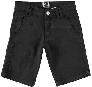 Boy's comfy short trousers in stretch cotton BLACK