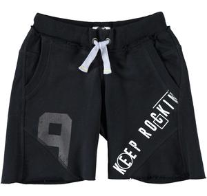 Boy's raw cut fleece Bermuda shorts with prints BLACK