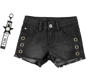 Grintoso denim shorts bambina sfrangiato in cotone stretch NERO