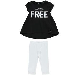 Comfortable and versatile two-piece girl's set in stretch cotton BLACK