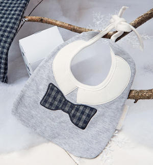 Bib with check pattern embroidered bow tie GREY