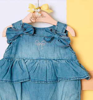 Baby girl romper suit 100% cotton in soft denim BLUE