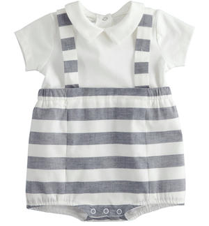 Short-sleeved cotton baby boy romper with faux striped suspenders BLUE