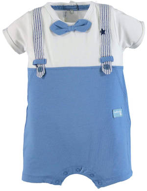 Two coloured romper with faux braces BLUE