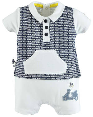 Faux polo shirt romper with motorbike print WHITE