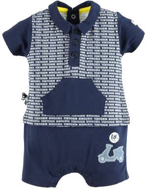 Faux polo shirt romper with motorbike print BLUE