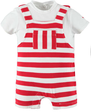 Summer baby boy romper suit in stretch cotton RED