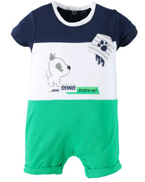 Summer baby boy romper suit in stretch cotton GREEN