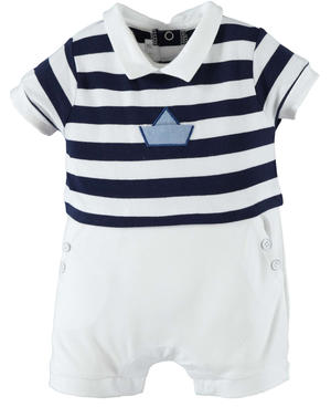 Cotton romper suit baby boy with navy style bodice WHITE