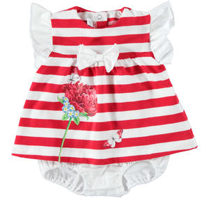 Baby girl cotton romper suit with bow and flower RED