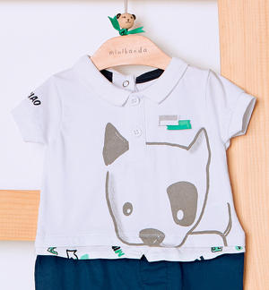 Stretch cotton romper suit detail fake shirt for baby boy WHITE