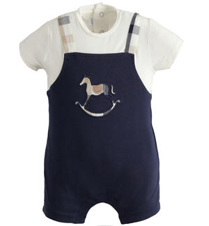 Lightweight stretch cotton baby boy romper with fake dungarees