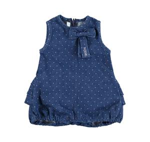 Lightweight denim romper with micro polka dots BLUE