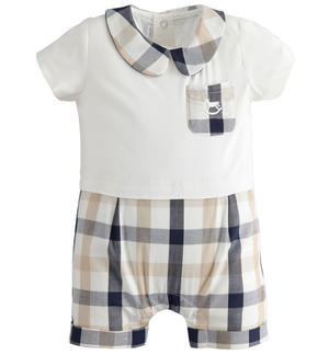 Stretch cotton poplin baby boy romper with check details