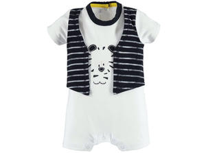 Baby boy cotton romper with faux waistcoat WHITE
