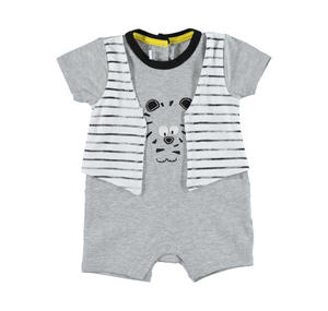 Baby boy cotton romper with faux waistcoat GREY