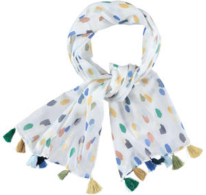 Pashmina in cotone con piccole nappe colorate