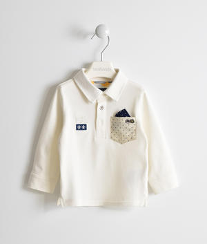 Elegant shirt-effect polo shirt CREAM
