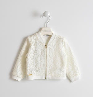 Pretty lace embroidered sweatshirt CREAM